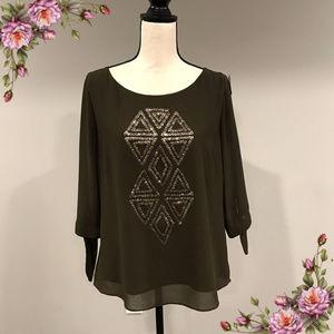 Dark olive geometric long sleeve sequin blouse
